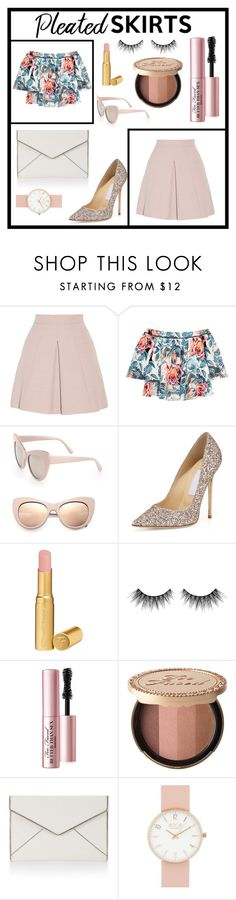 """""""pleated skirts -r"""" by j-and-r ❤ liked on Polyvore featuring Alexander McQueen, Elizabeth and James, STELLA McCARTNEY, Jimmy Choo, Too Faced Cosmetics, Rebecca Minkoff and pleatedskirts"""