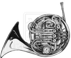 french horn drawings - Google Search