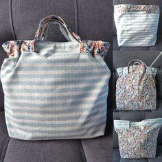 fiche couture patron gratuit sac à coulisse réversible en tissu