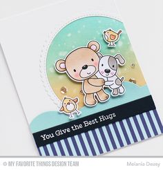 Card critters bear dog birds MFT Friends Furever Die-namics #mftstamps MELANIA DEASY