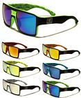 Men's Biohazard Large Wayfarer Mirrored Lens Flat Top Sunglasses Squared 80's