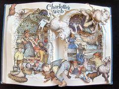 This Is The Fanciest Book Art You'll See Today - Artist Kelly Campbell creates collages of your favorite books using the book itself. Charlotte's Web Book, Up Book, Book Art, Quentin Blake, Altered Books, Altered Art, Peter Pan Book, Art Altéré, 3d Collage