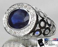 No Reserve!!!!! Men's 9.0 cts Genuine Blue Sapphire & W.Topaz Ring 925SS S#10 FS