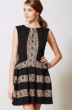 8e4522c07758 Details about Anthropologie Laced Strata Dress Black Fit Flare By Eva  Franco 0-2-4-6-8-10 NEW