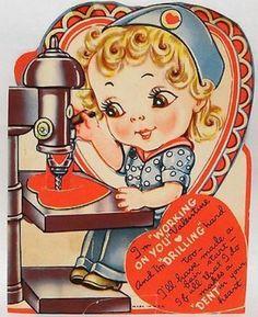 J1687 40s WWII Rosie the Riveter! Vintage Mechanical Diecut Valentine Card (02/22/2014)