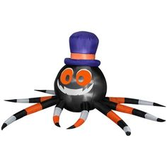 gemmy inflatable fabric halloween outdoor spider with witch hat