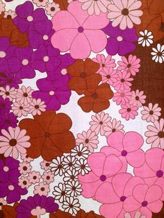 60s colorful pink swedish vintage mod floral vintage fabric. Scandinavian design.