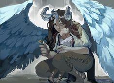 ArtStation - Harpy and boy concept art, Xiao Tong Kong