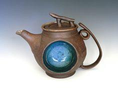 Blue Moon Teapot, Handmade Stoneware Teapot. Wheel-thrown and handbuilt. #ocpottery#etsy