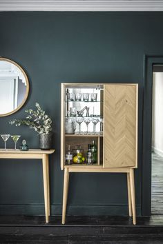 A blend of Scandi design and mid-century style, Perch & Parrow's Finn cocktail cabinet is a perfect piece to add a stylish touch to seasonal parties, celebrations and special occasions. Modern Drinks Cabinet, Modern Cabinets, Bar Unit, Drinks Trolley, Mid Century Style, Living Room Inspiration, Liquor Cabinet, Party, Interior Design