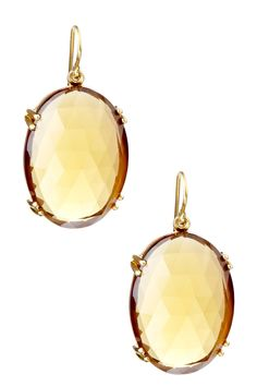 Whiskey Quartz Oval Earrings