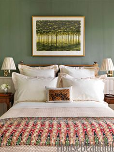 """Sage Green Bedroom An April Gornik painting is set off by walls in Tavern Green by The Old-Fashioned Milk Paint Co. in a bedroom of this East Hampton home by designer Bunny Williams. An Indonesian quilt adds texture """"and a Deco feeling. Green Bedroom Design, Sage Green Bedroom, Green Rooms, Bedroom Colors, Bedroom Decor, Green Walls, Bedroom Ideas, Bedroom Designs, Bedroom Inspiration"""