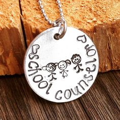 School Counselor Necklace, Counselor Jewelry, Hand Stamped Counselor Necklace, Custom School Counselor Jewelry, Teacher Jewelry by Eternally29 on Etsy