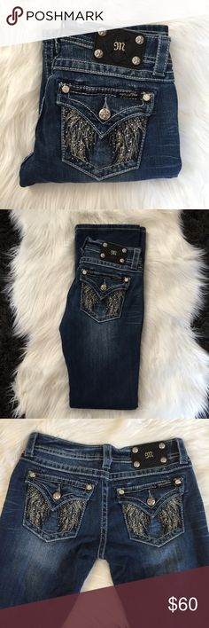 Miss Me Boot Cut Jeans Excellent condition, Miss Me boot cut jeans, featuring angel wings and rhinestone/beading on the back pockets. Gorgeous!! Size 27 x 32 Miss Me Jeans Boot Cut