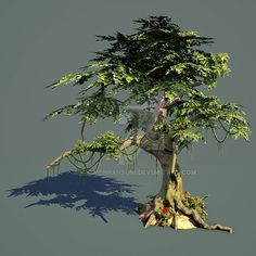 3dsMax, Zbrush, Marmost, Photoshop lowpoly Tree for game. done in less than 5 hours