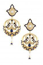 Tribebyamrapali-Silver Enameled Mughal Motif Earrings
