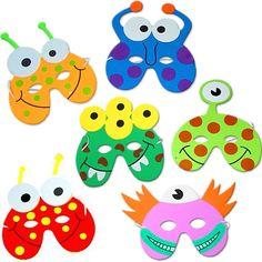 German Trendseller® - 8 x Monster Masken aus Schaumstoff ┃ für Kinder ┃ Monster Party ┃ Ideal zum Kindergeburtstag und Karneval