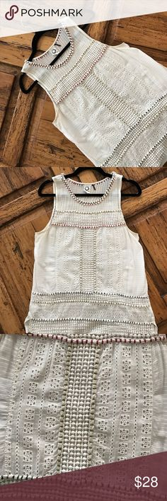 Akemi + Kin Eyelet Summer Top In excellent condition, no zipper cotton on back is stretchy so this is great for girls with big hoo ha's. 20% off any 2! Anthropologie Tops