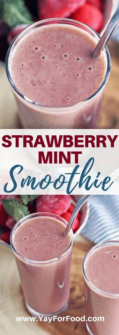 Strawberry Mint Smoothie - Looking for an even cooler twist on the classic strawberry smoothie Add in the refreshing flavour of mint with this easy drink recipe yayforfood smoothies smoothierecipes breakfast strawberrysmoothie snackrecipes easydrinks Smoothie Detox, Raspberry Smoothie, Smoothie Bowl, Easy Drink Recipes, Fruit Smoothie Recipes, Healthy Smoothies, Brunch Recipes, Healthy Detox, Healthy Recipes