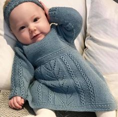 Soria Moria Kjole pattern by Wenche Steffensen : Ravelry: Soria Moria Dress pattern by Wenche Steffensen Girls Knitted Dress, Knit Baby Dress, Knitted Baby Clothes, Baby Cardigan, Baby Sweater Patterns, Baby Knitting Patterns, Baby Patterns, Crochet Patterns, Baby Outfits