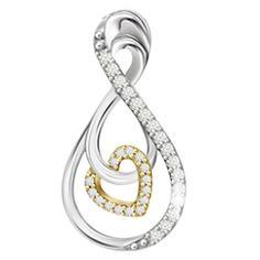 10K+sterling+silver+two+tone+yellow+gold+tone+diamond+infinite+heart+pendant.+D=.10ct