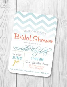 Chevron Bridal Shower Invitation - Beach theme colors - Printable bridal shower invite design