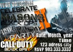 Printable Call of Duty Black Ops 2  Birthday Party Invitation - Video Game Invitation - Black Ops 2 Ghost Invite - Gaming