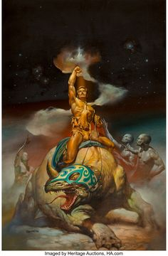 Boris Vallejo (American, b. Mysterious Rider, The New St. Marks Baths advertisement, 1978 Oil on board - Available at 2018 April 24 Illustration Art. Fantasy Heroes, Fantasy Figures, Fantasy Art Men, Boris Vallejo, Fantasy Paintings, Fantasy Artwork, Goya Paintings, Bell Art, Sword And Sorcery