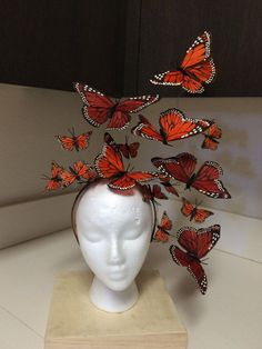 All Eyes on YOU!  Whimsical Monarch Butterfly Fascinator Headpiece  Light and easy to wear...minimum effort, maximum effect.  Butterflies appear