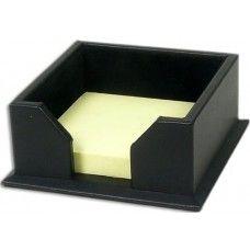 Desk Supplies>Desk Set / Conference Room Set>Holders> Files & Letter holders: Black Leather 3 x 3 Post-It Note Holder