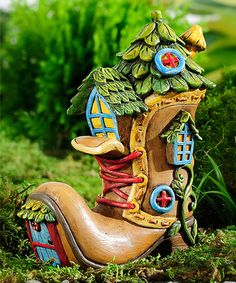 Love this Miniature Enchanted Forest Shoe House on #zulily! #zulilyfinds