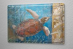 "Tin Sign Kitchen Decor sea turtle 8X12"" leotie fashion&li…"