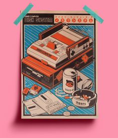 Retro gaming and bad habits - Art - Retro gaming and bad habits on Behance - Japon Illustration, Graphic Illustration, Retro Illustrations, Digital Illustration, Japanese Graphic Design, Japanese Art, Graphic Design Posters, Graphic Design Inspiration, Poster Designs