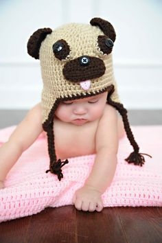 Pug Hat  Infant/Toddler Size by CatilyCrochet on Etsy, $17.00    I will be purchasing this for M to wear this winter!!