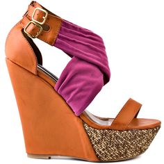 Put your best fashionista foot forward in this Shoe Republic wedge. Nonan brings you a purple ruched fabric upper with two adjustable straps. A 5 inch orange wedge will create height and a 1 inch platform showcases a woven detail. Orange Wedges, Purple Heels, Bronze Jewelry, Thing 1, High Wedges, Orange And Purple, Crazy Shoes, Beautiful Shoes, Fashion Beauty