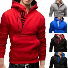 Mens Men Zipper Winter Long Sleeve Casual Hooded Hoodies Coat Jacket Outwear | eBay