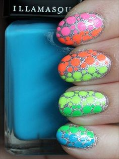 Nail Art: Neon Rainbow Dotticure - Swatch And Learn