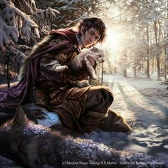 """Finding Ghost - """"This one belongs to me""""  Jon Snow by Magali Villeneuve for the ASOIAF Calendar 2016 (November illustration)."""
