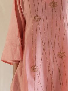 Pink Hand Embroidered Chanderi Kurta with Pants - Set of 2