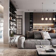 Modern apartment in Berlin - Dezign Ark (Beta) Furniture Design, Apartment, Modern Apartment, Living Room Designs, Interior, Apartment Design, 3d Living Room, House Interior, Room