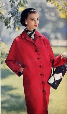 Inspiration: 1955 Vogue - Red Coat and Black and White Accessories jacket photo color print ad model magazine Vintage Fashion 1950s, Vintage Mode, Vintage Couture, Vintage Ladies, Vintage Woman, Fifties Fashion, Vintage Style, Vintage Dresses, Vintage Outfits