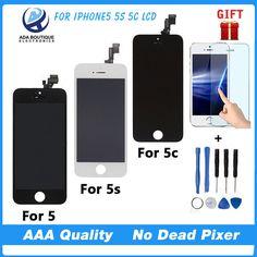 Kaliteli aaa ile iphone 5 5g için hiçbir dead pixel lcd ekran dokunmatik digitizer ekran montaj yedek siyah beyaz
