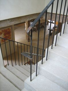 Stone stairs with forged iron railings Metal Stair Railing, Staircase Railings, Staircase Design, Stairways, White Staircase, Bannister, Iron Balusters, Stair Detail, Barn Renovation