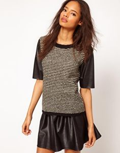 Enlarge ASOS Jumper With Leather Look Sleeves