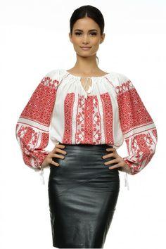 Ie Traditionala Romaneasca Maneca Lunga Motivul Altita Rosie