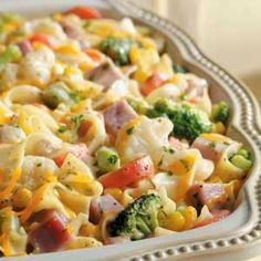 Veggie Noodle Ham Casserole ~ This saucy main dish is really quite versatile. Without the ham, it can be a vegetarian entree or a hearty side dish.