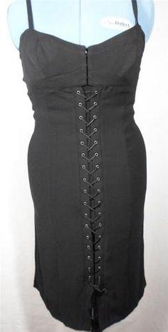 Dina Bar El Designer Women's Criss Cross Tie Front Stretch Fit Sheath Dress M | eBay