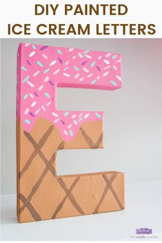 DIY Painted Ice Cream Letters – two purple couches So sweet! These DIY ice cream letters are great as ice cream party photo props or to display as baby shower letters. Diy Letters, Letter A Crafts, Painted Letters, Creative Arts And Crafts, Crafts For Kids To Make, Pretty Letters, Cool Lettering, Paper Crafts, Diy Crafts