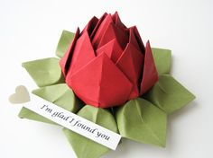Origami Lotus Flower with PERSONALIZED Romantic by fishandlotus, $11.00