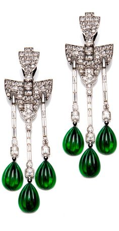 Emerald and diamond earrings -- the carved emerald briolettes are just juicy
